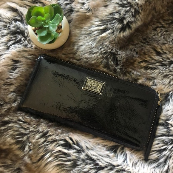 Coach Handbags - Coach poppy black patent leather wallet